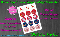 St Louis Cardinals Baseball Bottle Cap 1 Circle Images #3 (digital or pre cut)