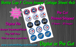 Toronto Blue Jays Baseball Bottle Cap 1 Circle Images #1 (digital or pre cut)