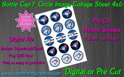 Toronto Blue Jays Baseball Bottle Cap 1 Circle Images #2 (digital or pre cut)