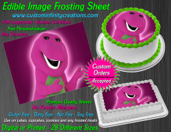 Barney Edible Image Icing Frosting Sheet #10 Cake Cupcake Cookie Topper