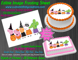 Peppa Pig Halloween Edible Image Frosting Sheet #4H Cake Cupcake Cookie Topper