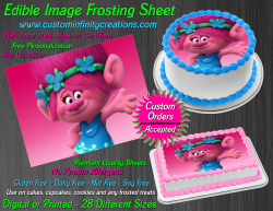 Poppy Trolls Edible Image Icing Frosting Sheet #23 Cake Cupcake Cookie Topper
