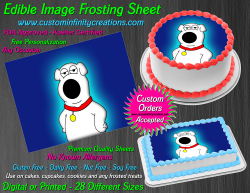 Brian Family Guy Edible Image Frosting Sheet #19 Cake Cupcake Cookie Topper