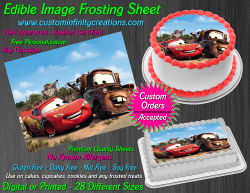 Cars McQueen Tow Mater Edible Image Icing Frosting Sheet #59 Cake Cupcake Topper