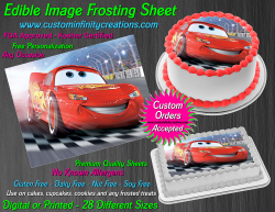 Cars Lightning McQueen Edible Image Icing Frosting Sheet #60 Cake Cupcake Topper