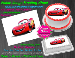 Cars Lightning McQueen Edible Image Icing Frosting Sheet #61 Cake Cupcake Topper