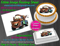 Cars Tow Mater Edible Image Icing Frosting Sheet #63 Cake Cupcake Cookie Topper