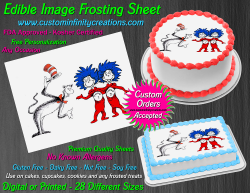 Cat in the Hat Dr Seuss Edible Image Icing Frosting Sheet #2 Cake Cupcake Topper