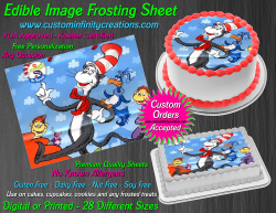 Cat in the Hat Dr Seuss Edible Image Icing Frosting Sheet #4 Cake Cupcake Topper