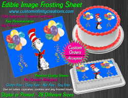 Cat in the Hat Dr Seuss Edible Image Icing Frosting Sheet #5 Cake Cupcake Topper