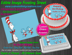 Cat in the Hat Dr Seuss Edible Image Icing Frosting Sheet #8 Cake Cupcake Topper
