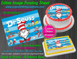 Cat in the Hat Dr Seuss Edible Image Icing Frosting Sheet #9 Cake Cupcake Topper
