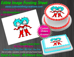 Thing 1 and Thing 2 Dr Seuss Edible Image Frosting Sheet #10 Cake Cupcake Topper