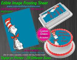 Cat in the Hat Dr Seuss Edible Image Frosting Sheet #12 Cake Cupcake Topper