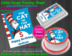 Cat in the Hat Dr Seuss Edible Image Frosting Sheet #13 Cake Cupcake Topper