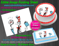 Cat in the Hat Dr Seuss Edible Image Frosting Sheet #14 Cake Cupcake Topper
