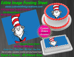 Cat in the Hat Dr Seuss Edible Image Frosting Sheet #15 Cake Cupcake Topper