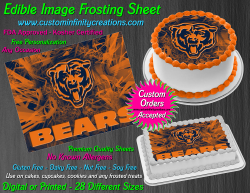 Chicago Bears Edible Image Icing Frosting Sheet #11 Cake Cupcake Cookie Topper