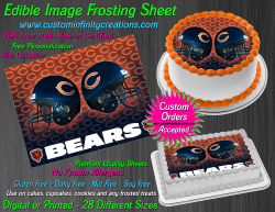 Chicago Bears Edible Image Icing Frosting Sheet #14 Cake Cupcake Cookie Topper