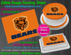 Chicago Bears Edible Image Icing Frosting Sheet #27 Cake Cupcake Cookie Topper