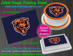 Chicago Bears Edible Image Icing Frosting Sheet #42 Cake Cupcake Cookie Topper