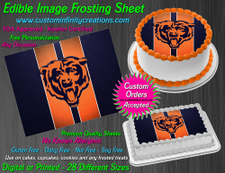 Chicago Bears Edible Image Icing Frosting Sheet #45 Cake Cupcake Cookie Topper