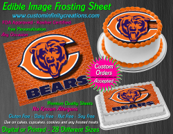 Chicago Bears Edible Image Icing Frosting Sheet #56 Cake Cupcake Cookie Topper
