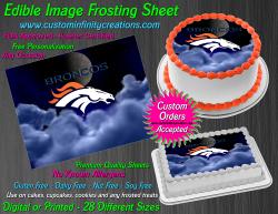 Denver Broncos Edible Image Icing Frosting Sheet #39 Cake Cupcake Cookie Topper