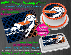 Denver Broncos Edible Image Icing Frosting Sheet #44 Cake Cupcake Cookie Topper
