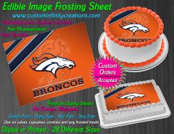 Denver Broncos Edible Image Icing Frosting Sheet #51 Cake Cupcake Cookie Topper