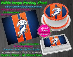 Denver Broncos Edible Image Icing Frosting Sheet #54 Cake Cupcake Cookie Topper