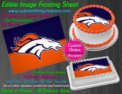 Denver Broncos Edible Image Icing Frosting Sheet #74 Cake Cupcake Cookie Topper