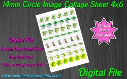 Alligator Crocodile Digital 14mm Circle Images Sheet #1 (instant download)