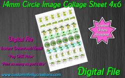 Alligator Crocodile Digital 14mm Circle Images Sheet #2 (instant download)