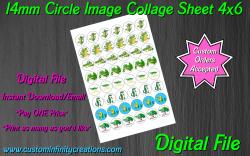 Alligator Crocodile Digital 14mm Circle Images Sheet #3 (instant download)