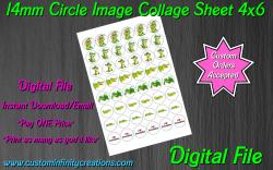 Alligator Crocodile Digital 14mm Circle Images Sheet #4 (instant download)