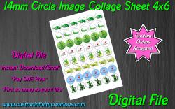 Alligator Crocodile Digital 14mm Circle Images Sheet #5 (instant download)