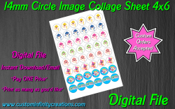 Baby Shark Digital 14mm Circle Images Collage Sheet #1 (instant download)