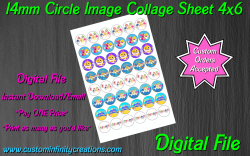 Baby Shark Digital 14mm Circle Images Collage Sheet #2 (instant download)