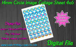 Baby Shark Digital 14mm Circle Images Collage Sheet #3 (instant download)