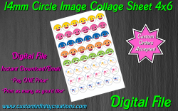 Baby Shark Digital 14mm Circle Images Collage Sheet #10 (instant download)