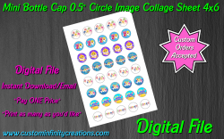 Baby Shark Digital 0.5 Circle Images Collage Sheet #2 (instant download)
