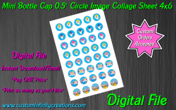 Baby Shark Digital 0.5 Circle Images Collage Sheet #3 (instant download)