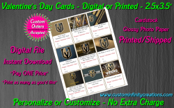 Vegas Golden Knights Digital or Printed Valentines Day Cards 2.5x3.5 Sheet #1