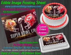 Super Bowl LIV 2020 Football Edible Image Frosting Sheet #1 Cake Cupcake Topper