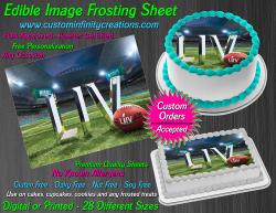 Super Bowl LIV 2020 Football Edible Image Frosting Sheet #2 Cake Cupcake Topper