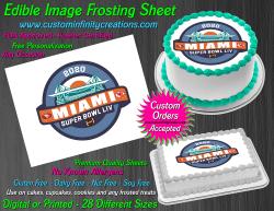 Super Bowl LIV 2020 Football Edible Image Frosting Sheet #5 Cake Cupcake Topper