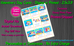 Baby Shark Digital or Printed Valentines Day Cards 2.5x3.5 Sheet #1