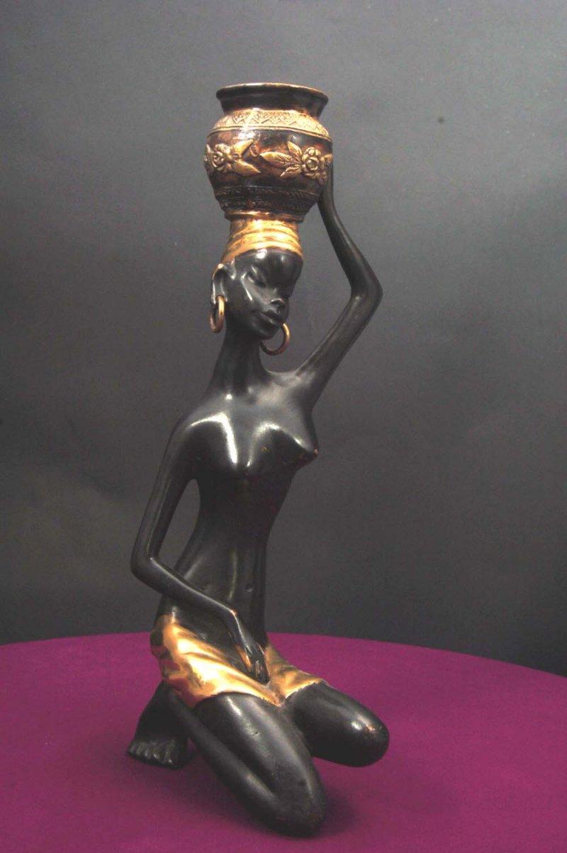 African Maiden Sculpture Solid Bronze