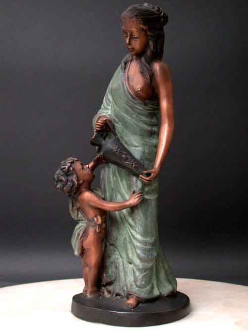 Image 0 of Bronze Fountain Lady and Bathing Boy Garden Art Sculptue
